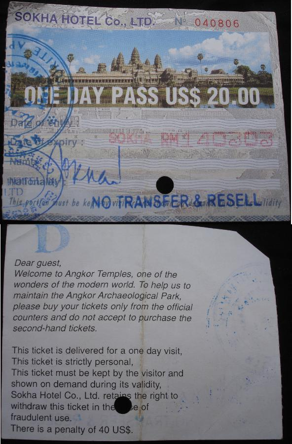 angkor temple ticket
