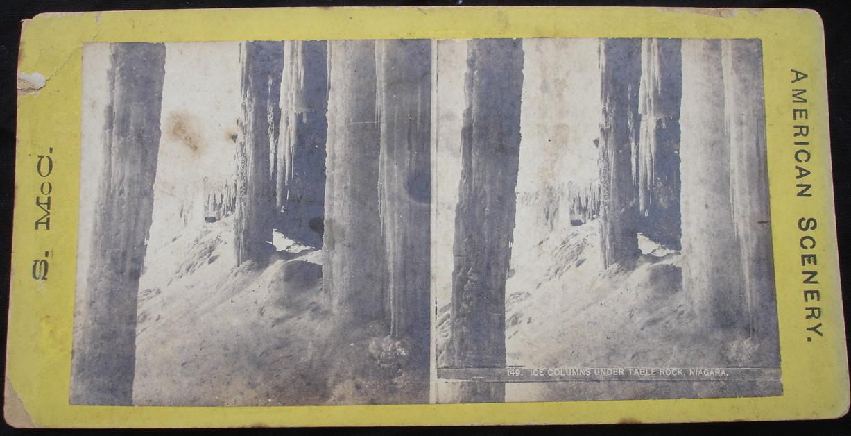 stereoview -Stereoview - Ice Columns under Table Rock, Niagara - click for larger image in new window
