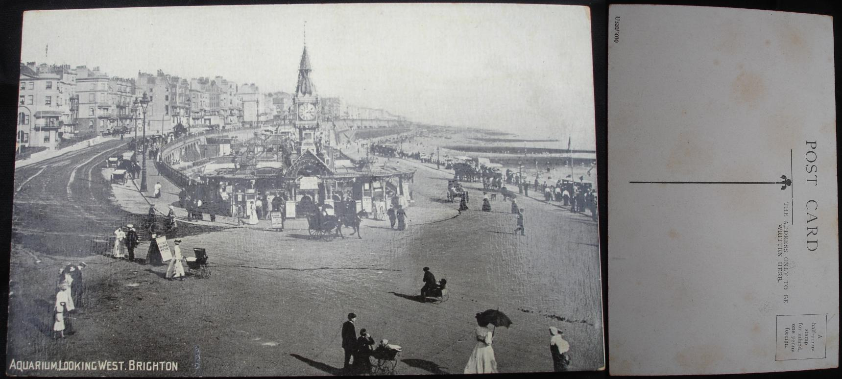 Real Photo Postcard -Aquarium, Brighton Beach, England  - click for larger image in new window