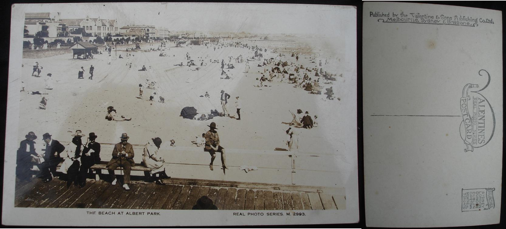 Real Photo Postcard - The Beach at Albert Park, Melbourne, Australia - click for larger image in new window