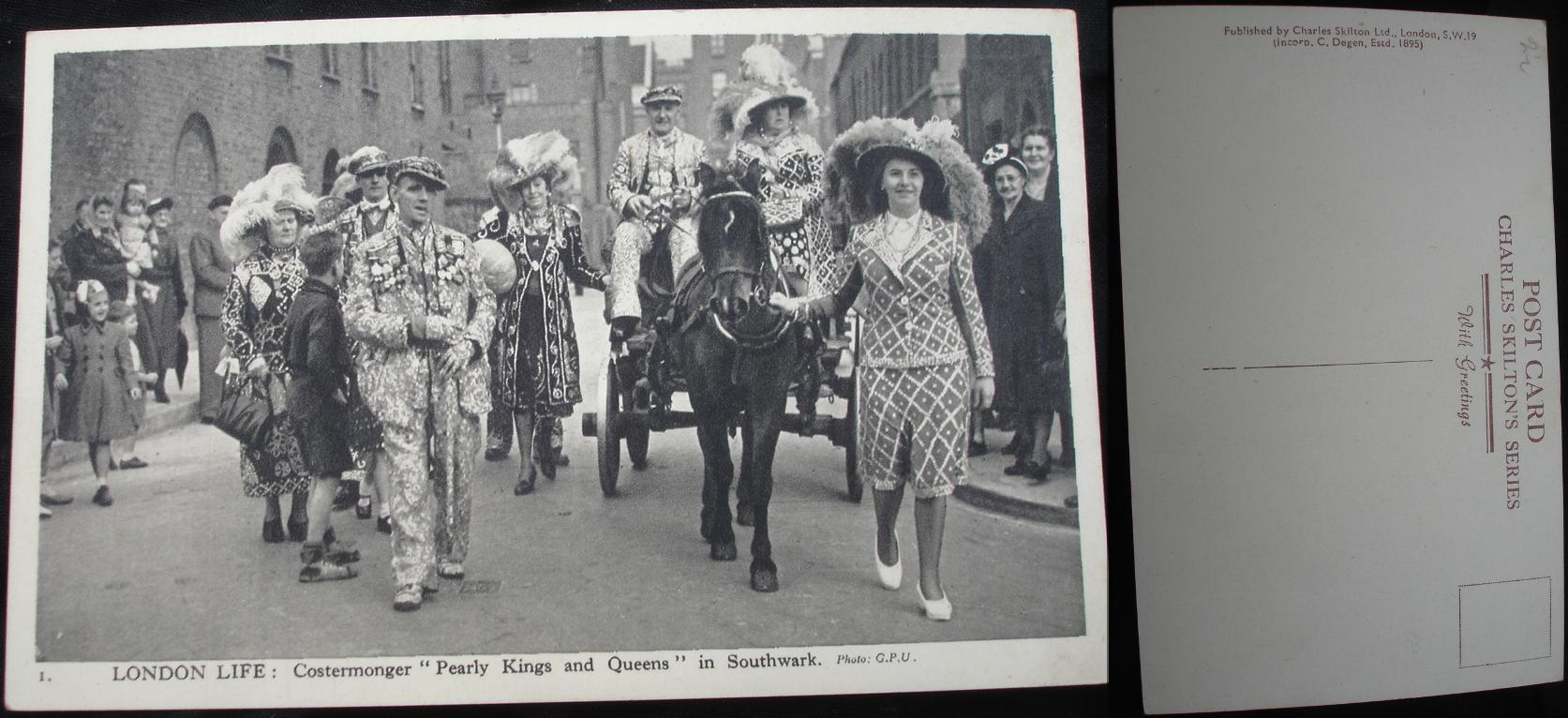 Real Photo Postcard - Pearly Kings & Queens in Southwark- click for larger image in new window