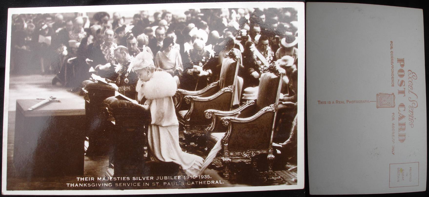 Real Photo Postcard - Royal Silver Jubilee Service 1935, St Pauls- click for larger image in new window