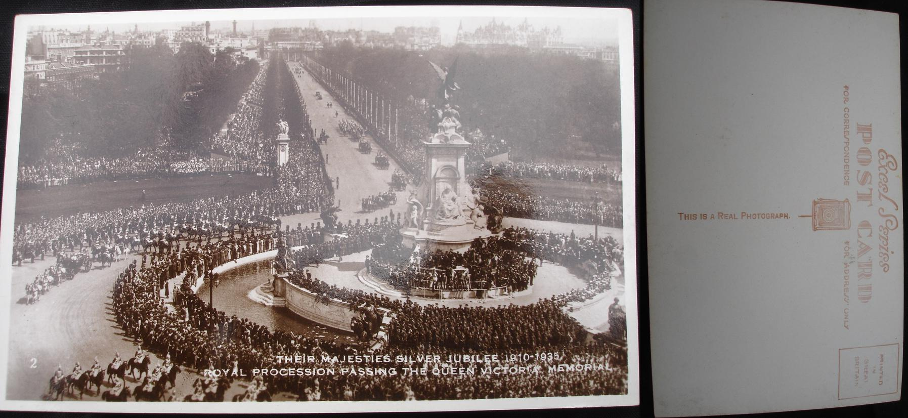Real Photo Postcard - Royal Silver Jubilee procession 1935.- click for larger image in new window