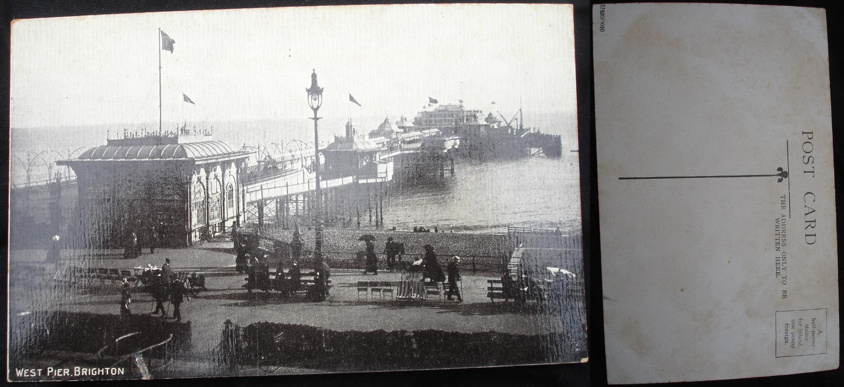 Real Photo Postcard - West Pier, Brighton.- click for larger image in new window